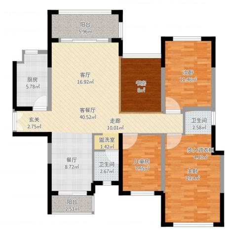 绿茵温莎堡香堤4室2厅1卫1厨130.00㎡户型图