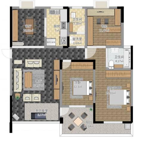 香樟景苑3室4厅2卫1厨163.00㎡户型图