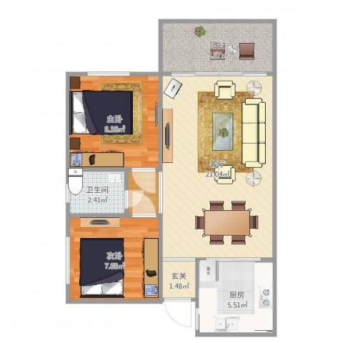 保利红棉花园2室1厅1卫1厨65.00㎡户型图
