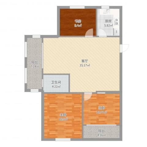 万泰时代城3室1厅1卫1厨117.00㎡户型图