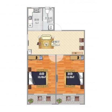 蔷薇二村2室2厅1卫1厨77.00㎡户型图