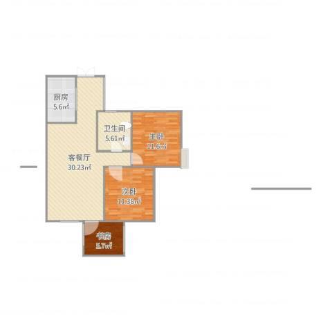 旌城一品3室2厅1卫1厨88.00㎡户型图