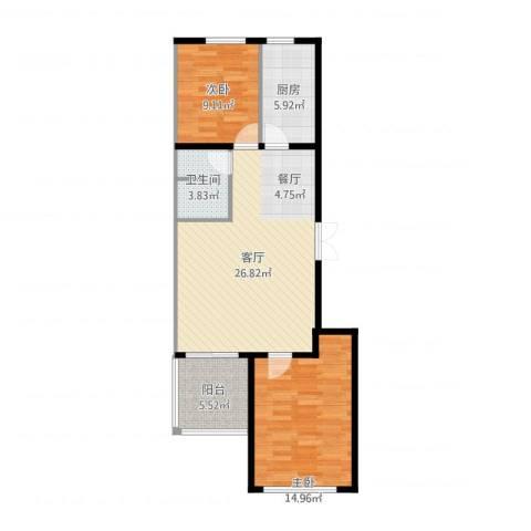 和利水岸名都2室1厅1卫1厨66.16㎡户型图