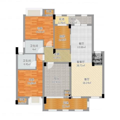 万科红郡2室2厅2卫1厨133.00㎡户型图