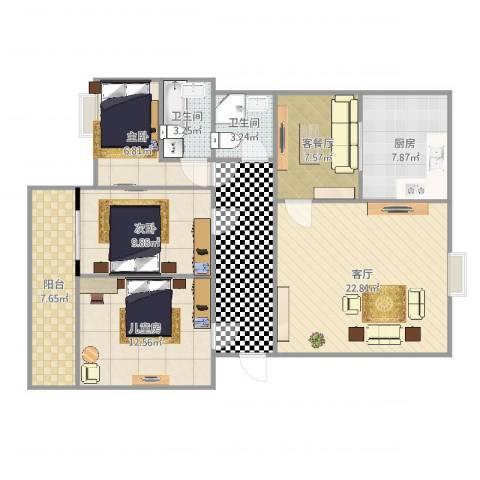 南关小区16号楼3室3厅2卫1厨114.00㎡户型图