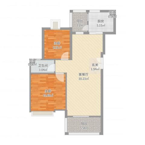 汇银奥林匹克花园2室2厅1卫1厨86.00㎡户型图
