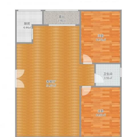 汇银奥林匹克花园2室2厅1卫1厨114.00㎡户型图