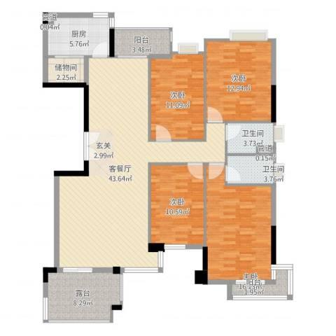 汇银奥林匹克花园4室2厅2卫1厨155.00㎡户型图
