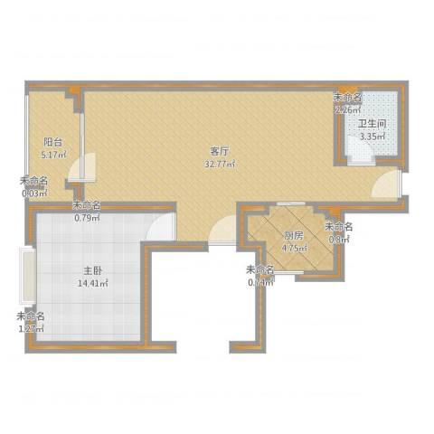 晋阳紫城1室1厅1卫1厨83.00㎡户型图