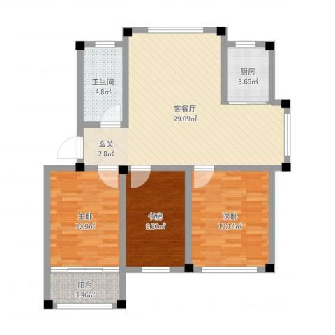 东发现代城山水园3室2厅1卫1厨92.00㎡户型图