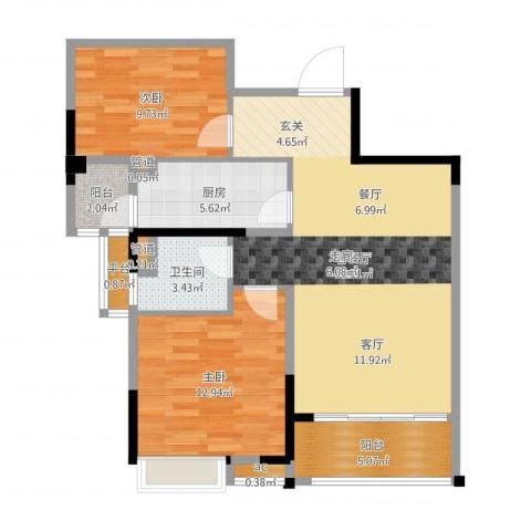 碧桂园欧洲城2室2厅1卫1厨87.00㎡户型图