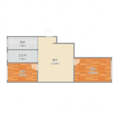 宝地・东晟花园2室1厅1卫1厨69.00㎡户型图