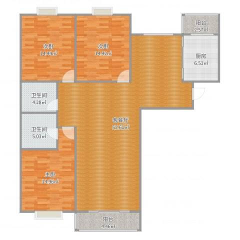 望京湖光中街2号院3室2厅2卫1厨149.00㎡户型图