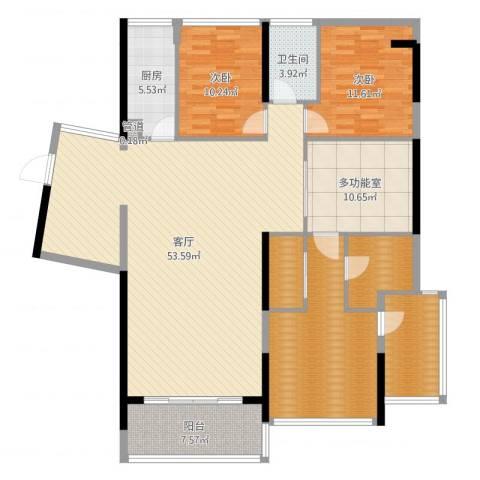 红豆美墅2室1厅1卫1厨166.00㎡户型图