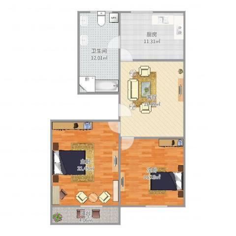 万荣小区2室1厅1卫1厨111.00㎡户型图