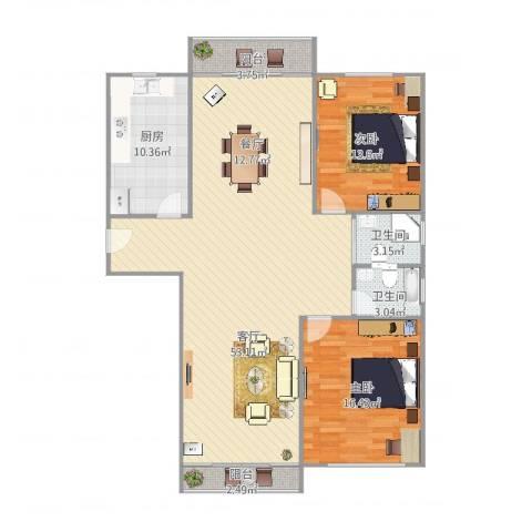 慧芝湖花园2室1厅2卫1厨141.00㎡户型图