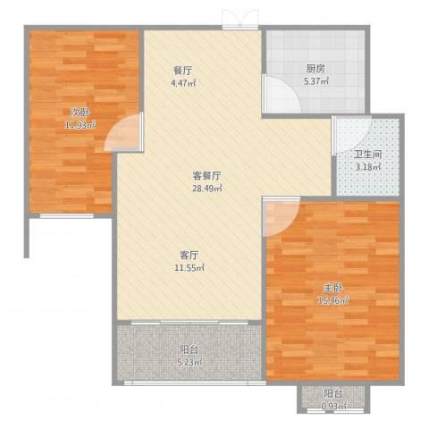 西苑华府A2室2厅1卫1厨91.00㎡户型图
