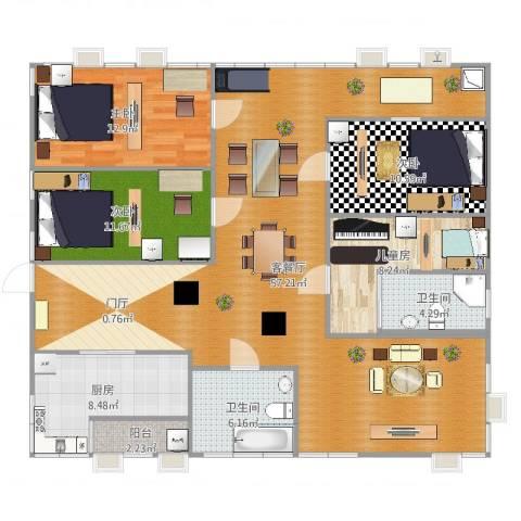 格兰云天4室2厅2卫1厨152.00㎡户型图
