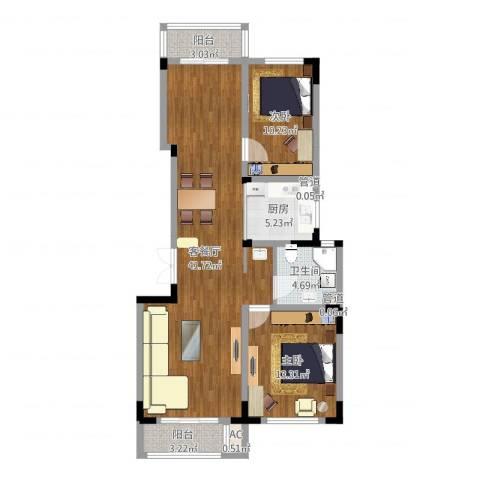 复地哥德堡森林三期墅香洋房2室2厅1卫1厨103.00㎡户型图
