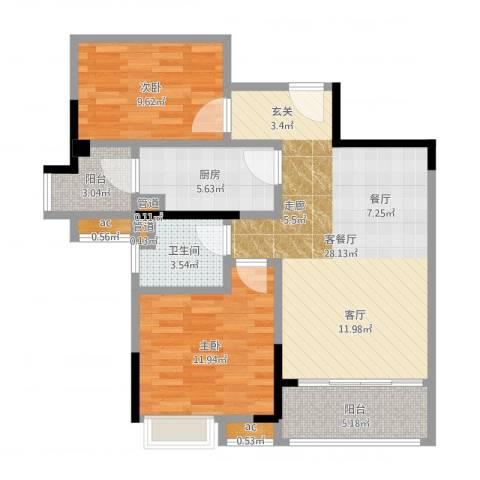 碧桂园欧洲城2室2厅1卫1厨86.00㎡户型图