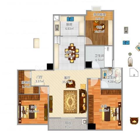 罗蒙环球城3室1厅2卫1厨123.00㎡户型图