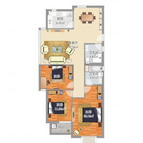 北岸琴森3室2厅2卫1厨129.00㎡户型图