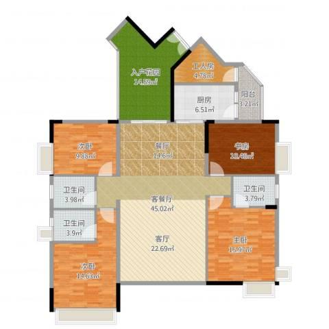 中惠金士柏山4室2厅3卫1厨171.00㎡户型图