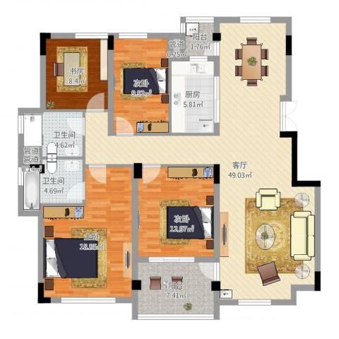 北岸琴森4室1厅2卫1厨176.00㎡户型图