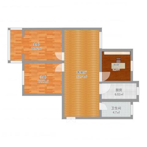 丰涵家园3室2厅1卫1厨102.00㎡户型图