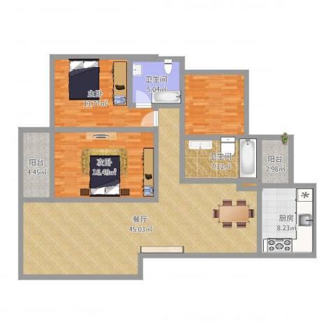锦绣嘉园2室1厅2卫1厨140.00㎡户型图