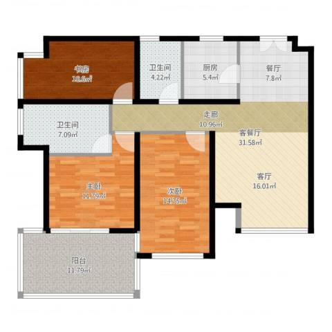 K2清水湾3室2厅2卫1厨122.00㎡户型图