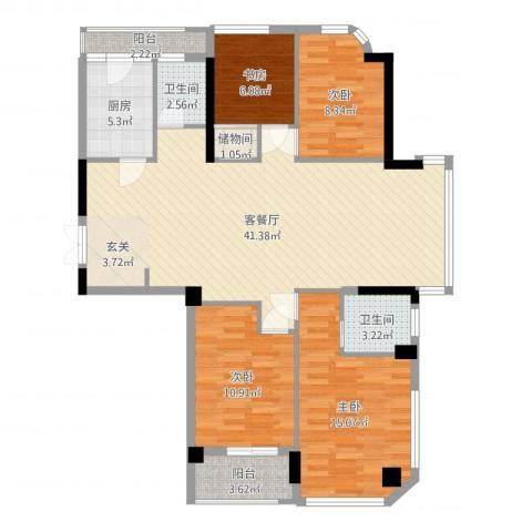 雅戈尔湖景花园4室2厅2卫1厨125.00㎡户型图