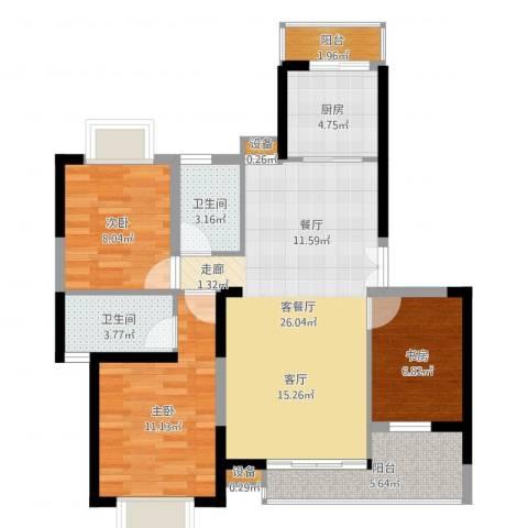枫林绿洲3室2厅2卫1厨90.00㎡户型图