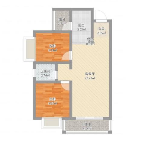 傣泐金湾三期悦江苑2室2厅1卫1厨75.00㎡户型图