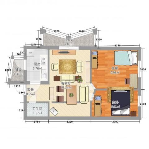 和平街十一区2室2厅1卫1厨66.00㎡户型图