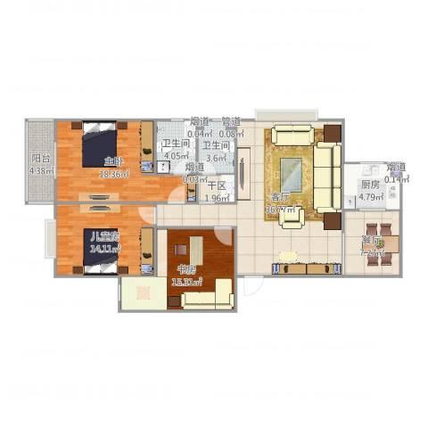 白云小区3室2厅2卫1厨139.00㎡户型图