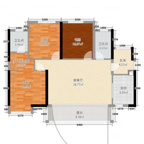 荔园/悦享星醍3室2厅2卫1厨108.00㎡户型图