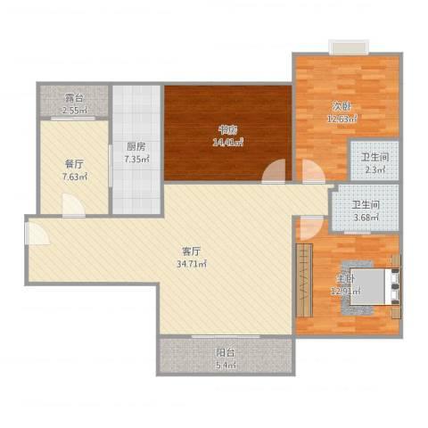 绿苑水岸名筑3室2厅2卫1厨129.00㎡户型图