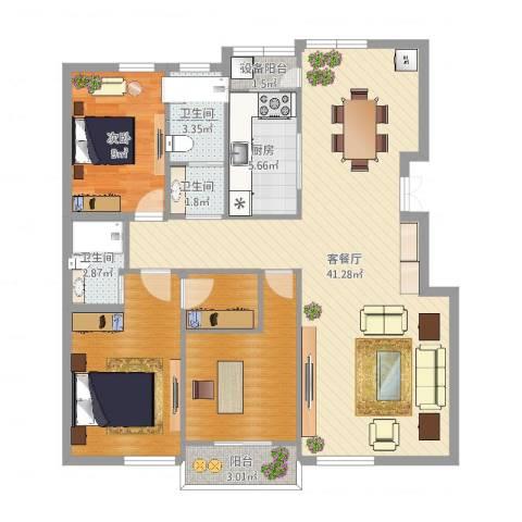 北岸琴森1室2厅3卫1厨117.00㎡户型图