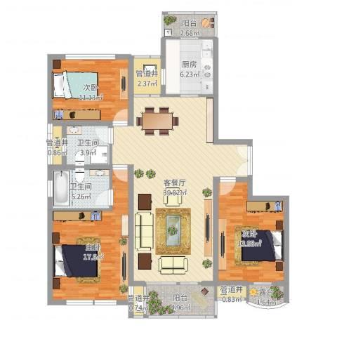 BOBO城3室2厅2卫1厨140.00㎡户型图