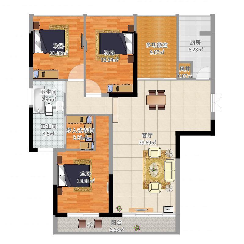 爱佳9栋三室两厅户型图