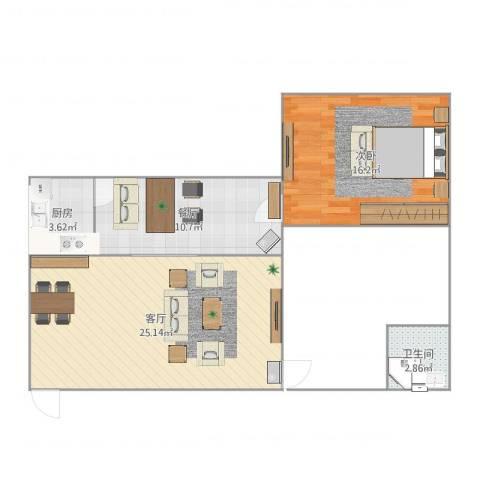 骏霖左岸丽川1室2厅1卫1厨73.00㎡户型图