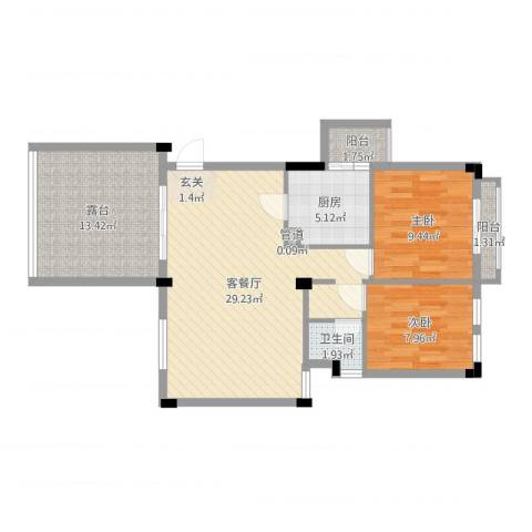 常平万科城2室2厅1卫1厨88.00㎡户型图