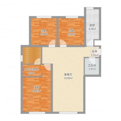 亲水湾・�园3室2厅1卫1厨109.00㎡户型图