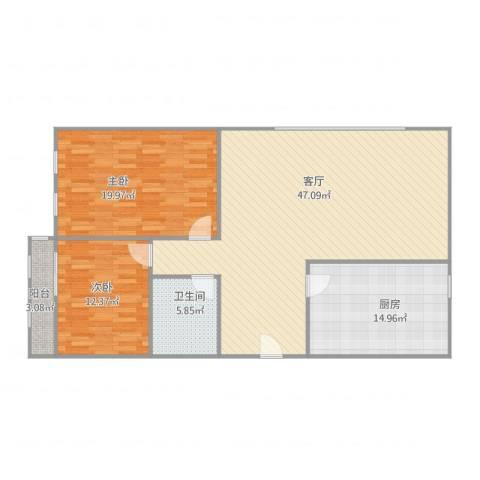 时代总部基地2室1厅1卫1厨137.00㎡户型图