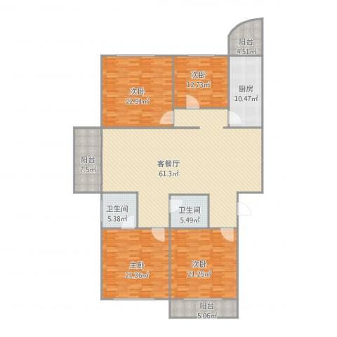 东卉花园4室2厅2卫1厨236.00㎡户型图