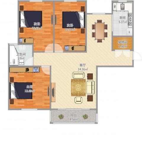欧风家园3室1厅1卫1厨111.00㎡户型图