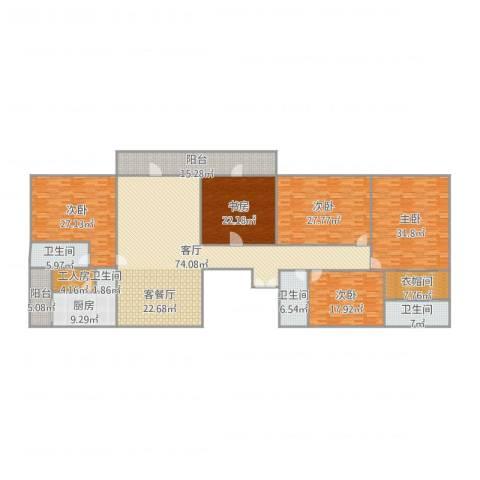 中海文华熙岸5室1厅4卫1厨330.00㎡户型图