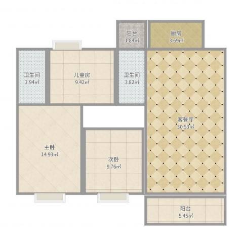 和富家园12A11063室2厅2卫1厨104.00㎡户型图
