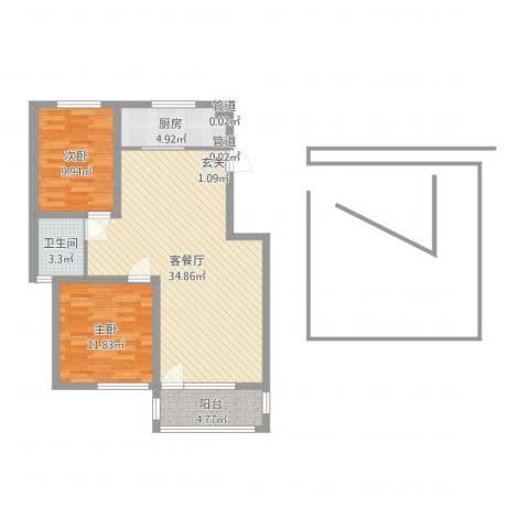 中央华府2室2厅1卫1厨87.00㎡户型图